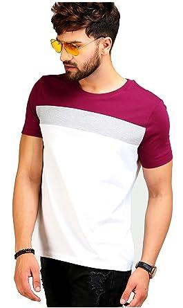 d1d3a22b1 AELO Men's Cotton T Shirt-(Aelotshirt1026-P_White): Amazon.in ...