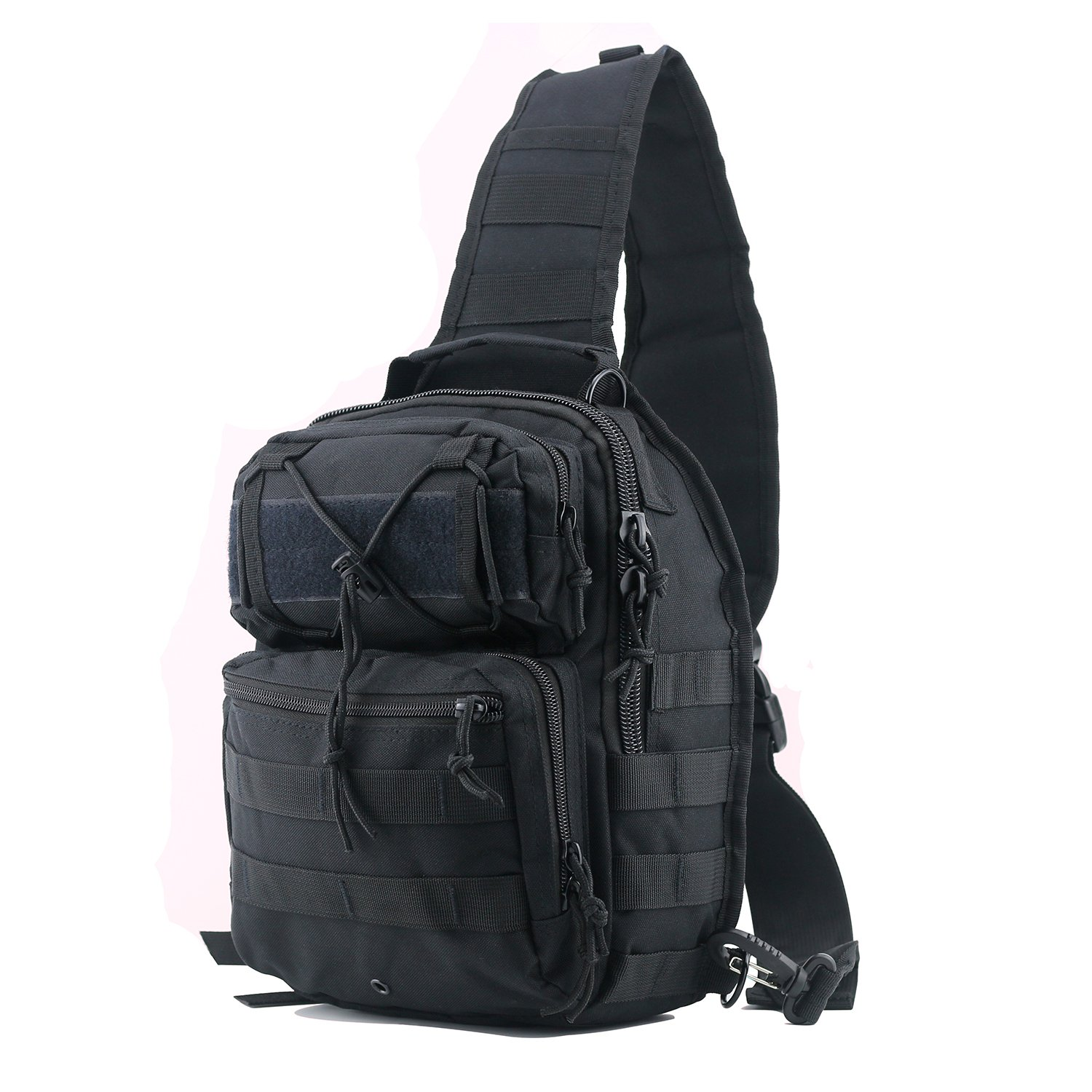 lovollect Tactical Sling Bag Pack Black Military Rover Shoulder Sling Backpack Small EDC Molle Assault Waterproof Chest Crossbody Bag