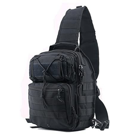 5a7594bc1 Amazon.com : lovollect Tactical Sling Bag Pack Black Military Rover  Shoulder Sling Backpack Small EDC Molle Assault Chest Crossbody Bag :  Sports & Outdoors