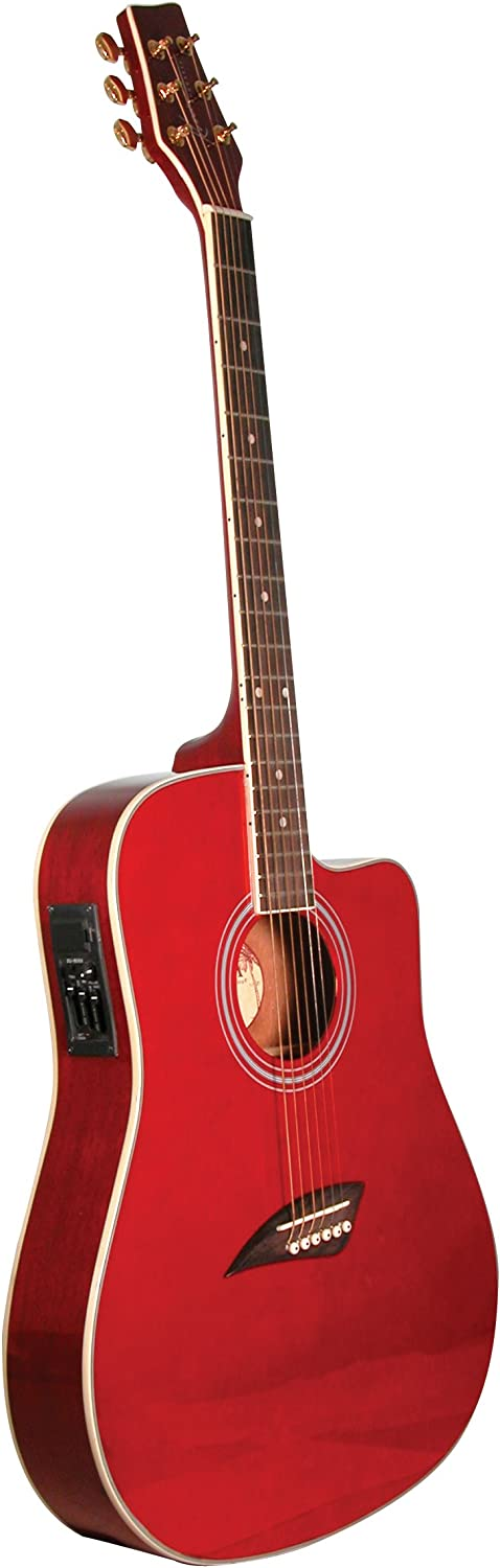 Kona K2TRD Acoustic Electric Dreadnought Cutaway Guitar in Transparent Red Finish