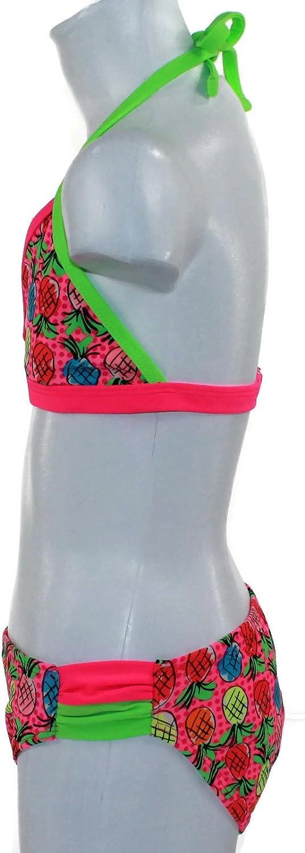 4-6X 2PC Set Angel Beach Little Girls Pineapple Print Swimsuit