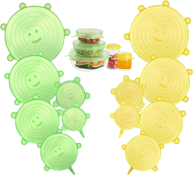 CISHANJIA Tapas de Silicona Elasticas,Paquetes de 12 Tapas de Silicona Reutilizables Ecológicas,Sin BPA, Adaptarse a Varios Tamaños y Formas de Contenedores,Seguro para Lavavajillas(Amarillo Verde)