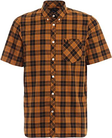 Fred Perry - Camisa de manga corta, diseño de tartán, color negro amarillo M: Amazon.es: Ropa y accesorios