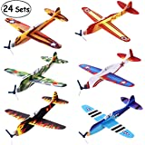 iBaseToy Flying Glider Planes - 6 Different Designs, Foam Paper Aeroplanes, Party Bag Fillers for Kids Party Favours Carnival Prizes Birthday School Classroom Rewards (Pack of 24)
