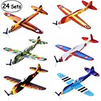 """iBaseToy 24 Pack Flying Glider Plane - 8"""" Foam Toy Airplanes in 6 Different Designs, Kids Birthday Party Favors, School Classroom Prizes, Carnival Prizes, Treasure Box for Boys Girls"""