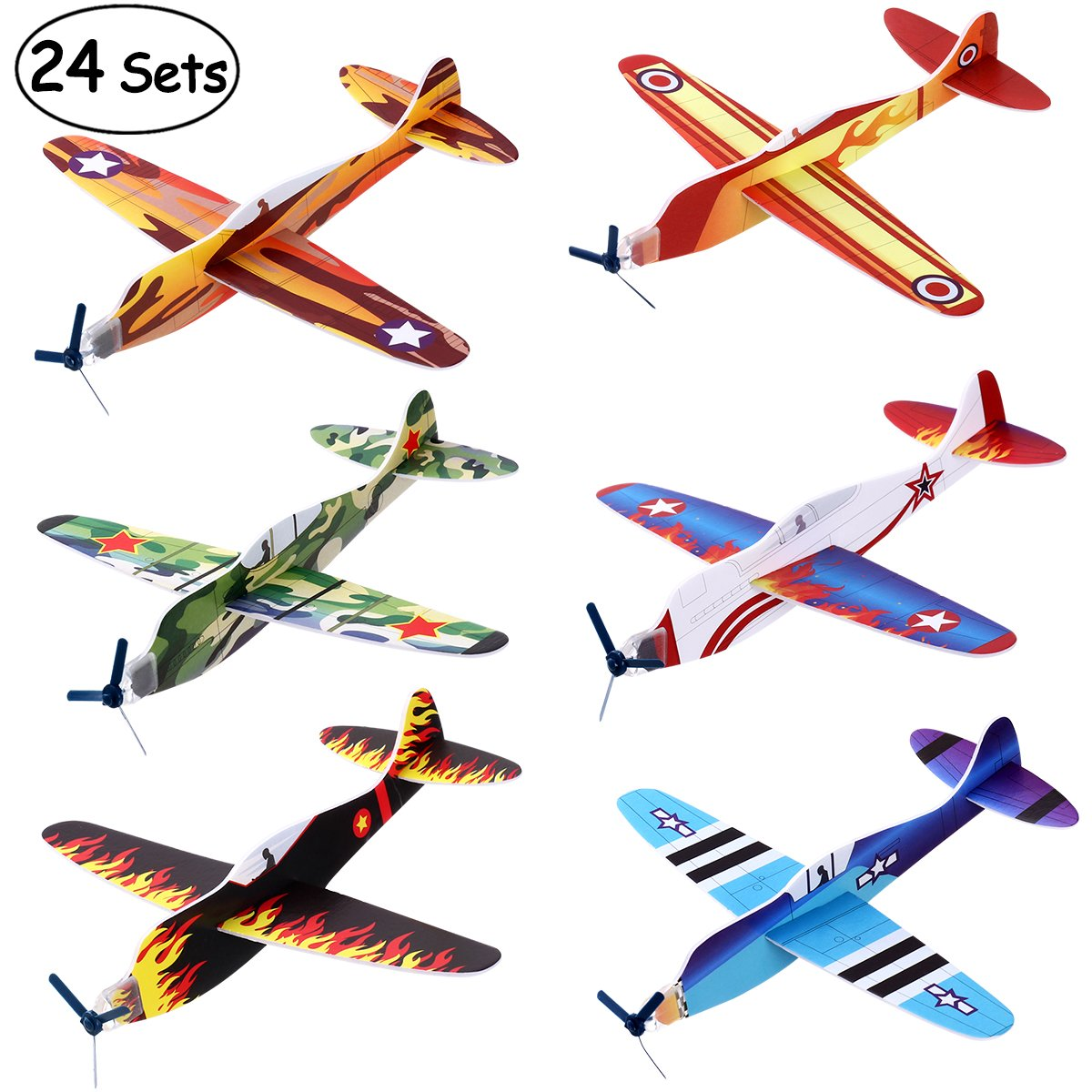 iBaseToy 24 Pack Flying Glider Plane - 8'' Long, 6 Different Designs, Sturdy Construction, Easy Assembly - Party Favors for Birthday Party, Carnival Prizes, School Classroom Rewards for Kids Boys
