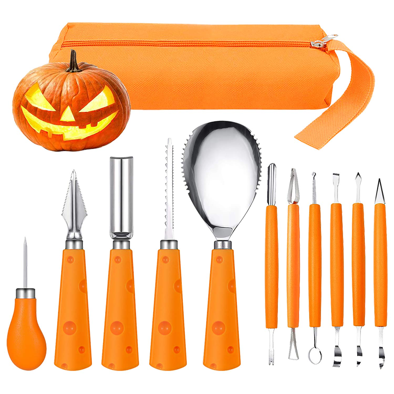 Halloween Pumpkin Carving Kit, FEOAMO 11 Pieces Professional Heavy Duty Stainless Steel Jack O Lanterns Pumpkin Carving Tools Set for Halloween Kids Adults Party Decorations, with Storage Carrying Bag by FEOAMO