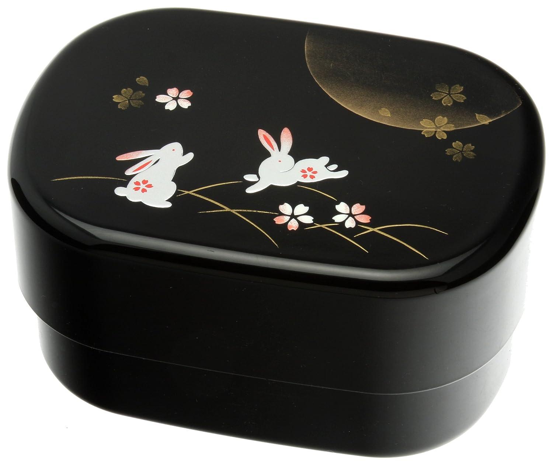 Kotobuki 280-309 2-Tier Autumn Rabbit Bento Box, Black
