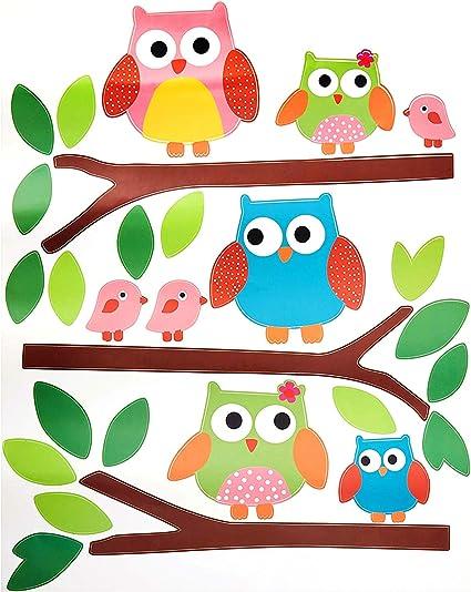 RW-B97 Cartoon Owl Wall Decals Colorful Owl Birds Wall Stickers DIY Removable Cute 3D Animal Wall Art Decor for Kids Boys Girls Bedroom Living Room Nursery Office Classroom Decoration