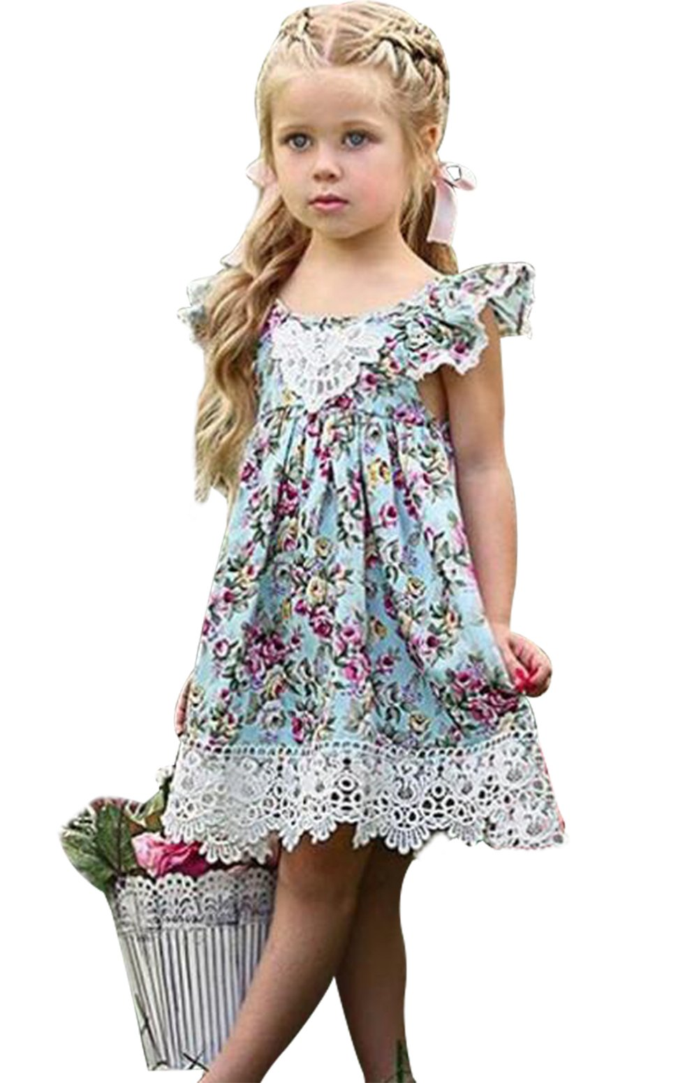 LOTUCY Kids Baby Girls Floral Lace Hem Ruffle Summer Party Beach Princess Dress Size 3-4 Years/Tag110 (Blue)