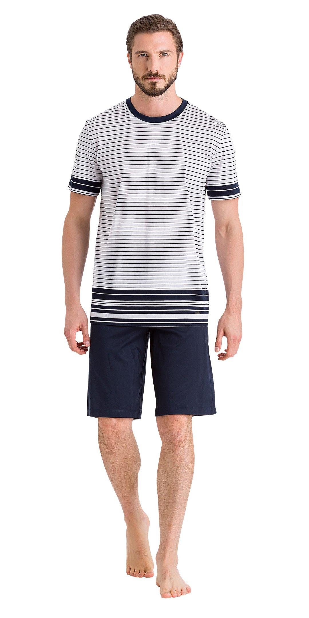 HANRO Men's Oliver Short Sleeve Pajama Set, Marine Stripe/Marine, XX-Large