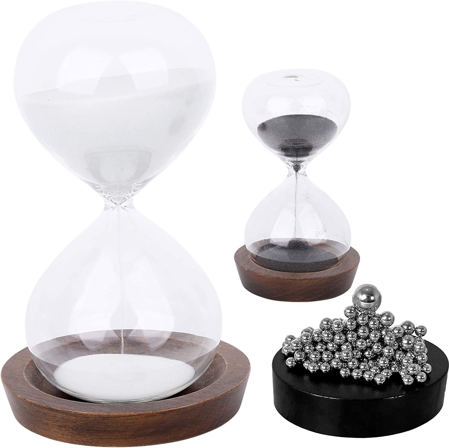 Budgetizer Sand Hourglass Timer Hour Glass– with Magnetic Balls Desk Toy Sculpture – 30 min and 5 Minute Sand Clock for Office, Home, Desk Decor (Black and White)