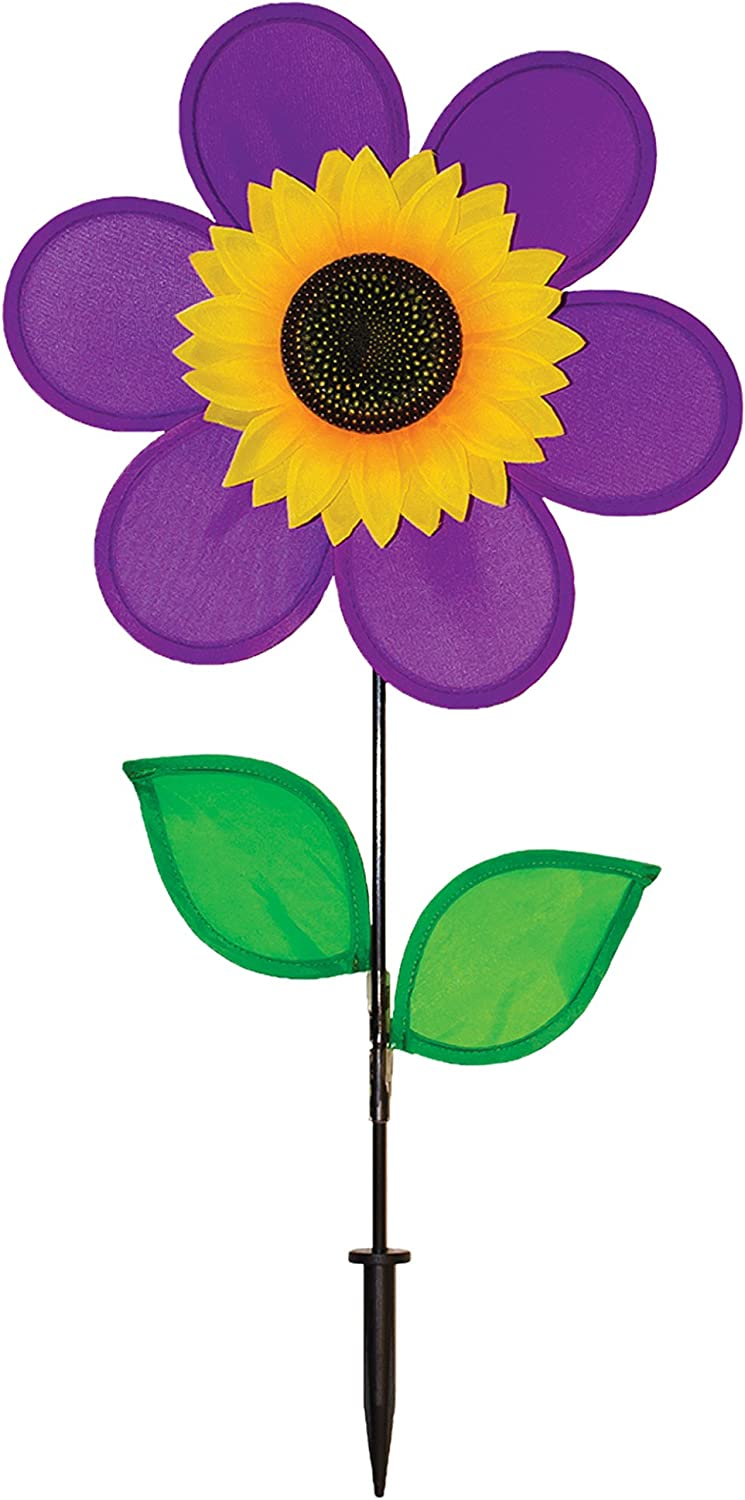 In the Breeze 12 Inch Purple Sunflower Wind Spinner with Leaves - Includes Ground Stake - Colorful Flower for your Yard and Garden