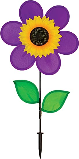 Amazon Com In The Breeze 12 Inch Purple Sunflower Wind Spinner With Leaves Includes Ground Stake Colorful Flower For Your Yard And Garden Garden Outdoor