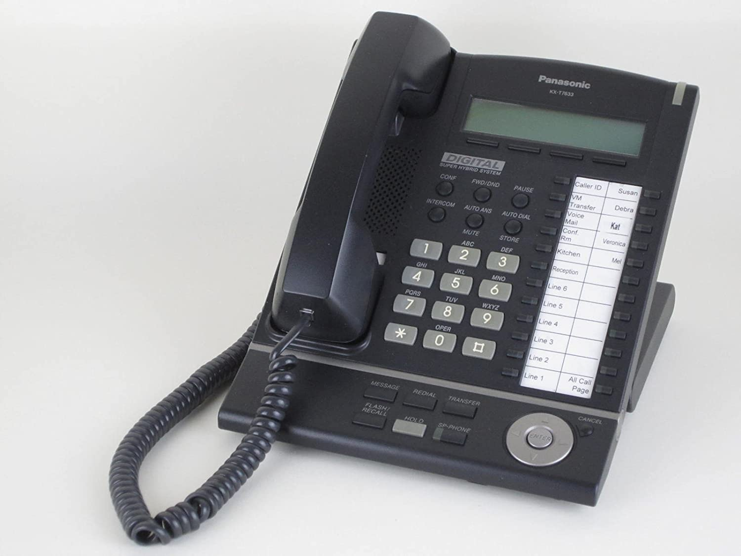 Amazon.com : Panasonic KX-T7633-B Digital Telephone Black 3-Line LCD  Proprietary Phone : Corded Telephones : Electronics