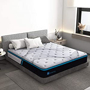 Full Size Mattress, Avenco Cold Foam and Innerspring Mattress Full, 10 Inch Grey Hybrid Mattress in a Box, Excellent Support with Dual Perimeter Edge Support System