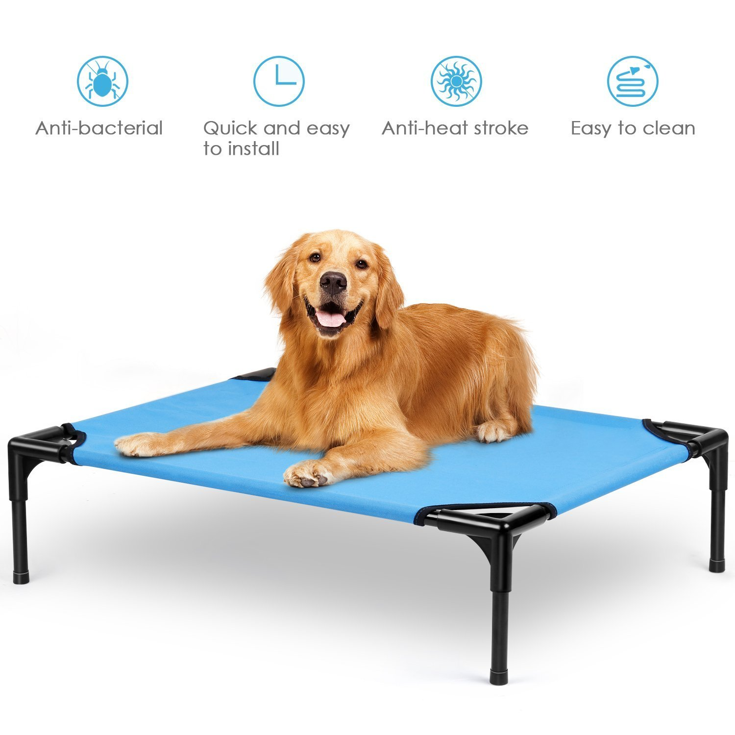 amzdeal Dog Bed Elevated Dog Bed Enhanced Washable Dog Cot Cat Bed Puppy Beds for Spring Summer