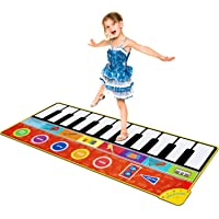 Piano Music Mat, Music Dance Mat Keyboard Playmat with 19 Keys Piano Mat, 8 Selectable Musical Instruments Build-in Speaker & Recording Function for Kids Girls Boys, 58.26 x 23.62 inches
