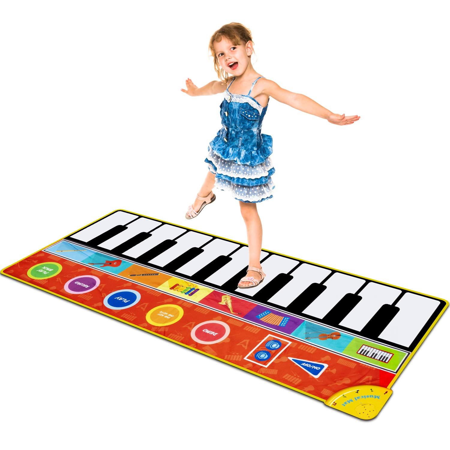 Cyiecw Piano Music Mat, Music Dance Mat Keyboard Playmat with 19 Keys Piano Mat, 8 Selectable Musical Instruments Build-in Speaker & Recording Function for Kids Girls Boys, 58.26 x 23.62 inches by Cyiecw