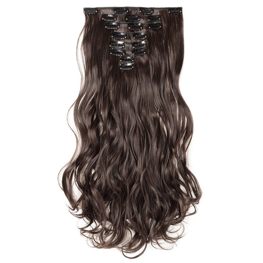 Clip in Hair Extensions Synthetic Full Head Charming Hairpieces Thick Long Straight 8pcs 18clips for Women Girls Lady (17 inches-wavy, dark brown)
