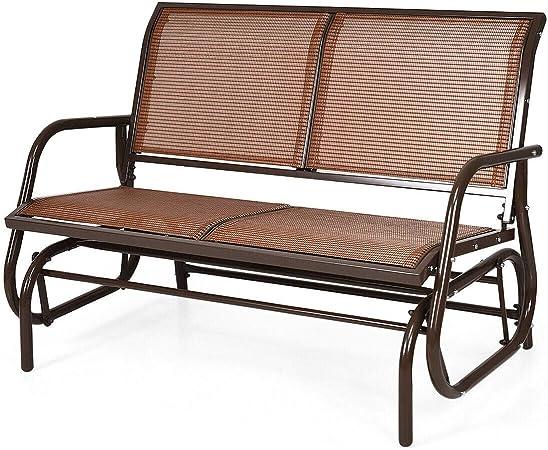 Outdoor Patio Yard Glider Loveseat Bench High Back Beige Fabric Black Aluminum
