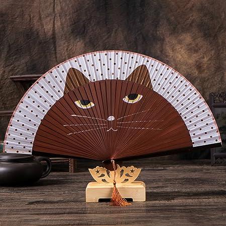 KOONARD Abanicos de papel de mano estilo chino de verano, plegables, de bambú, satinados, para manos de gatos, con dibujos animados, abanicos plegables chinos: Amazon.es: Hogar