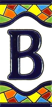 """Image ofLetreros con numeros y letras en azulejo de ceramica policromada, pintados a mano en técnica cuerda seca para placas con nombres, direcciones y señaléctica. Texto personalizable. Diseño MOSAICO MEDIANO 10,9 cm x 5,4 cm. (LETRA """"B"""")"""