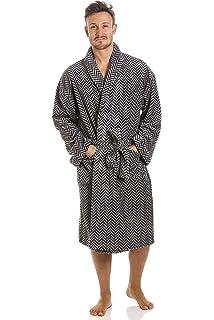 Robe de Chambre pour Homme Polaire Ultra Douce col châle Motif Zigzag Gris Bleu  Marine 0492ddff6423