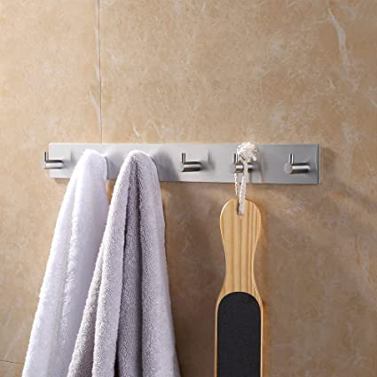 Genial KES Self Adhesive Hooks Rail STAINLESS STEEL 6 Hook Rack Bath Towel Hook  Sticky Bathroom