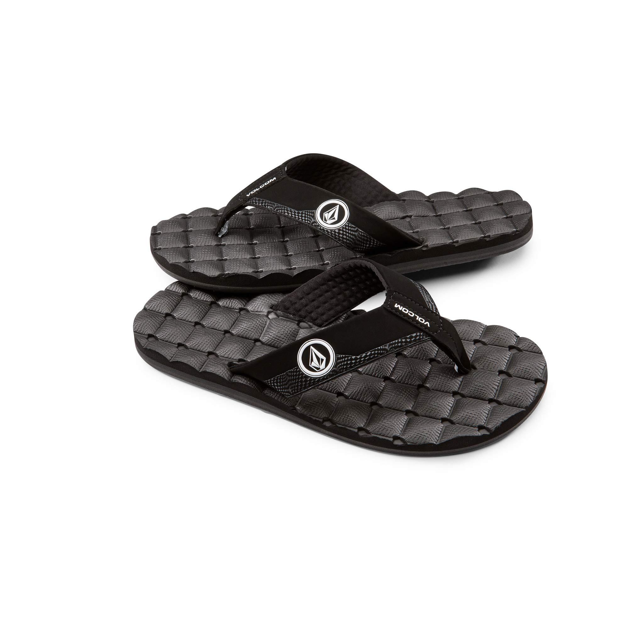 Volcom Men's Recliner Sandal, Black/White, 10 M US