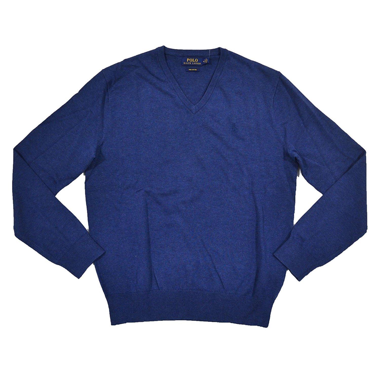 Ralph Lauren Polo Mens Pima V-Neck Sweater (Large, Blue)