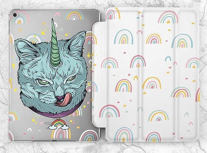 2f12df49fe30 Amazon.com  Evil Rainbow Blue Pastel Unicorn Cat Case For Apple iPad Mini 1  2 3 4 iPad Air 2 iPad Pro 9.7 10.5 12.9 inch iPad 9.7 inch 2017 2018   Handmade