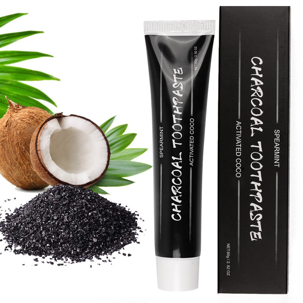 Activated Charcoal Teeth Whitening Toothpaste,Natural Teeth Whitener from Carbon Coco, Bad Breath Treatment and Removes Coffee Stains,Fluoride & Peroxide Free