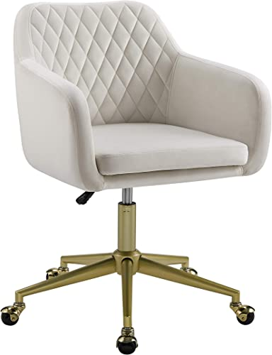 Linon White Quilted Brooklyn Office Chair