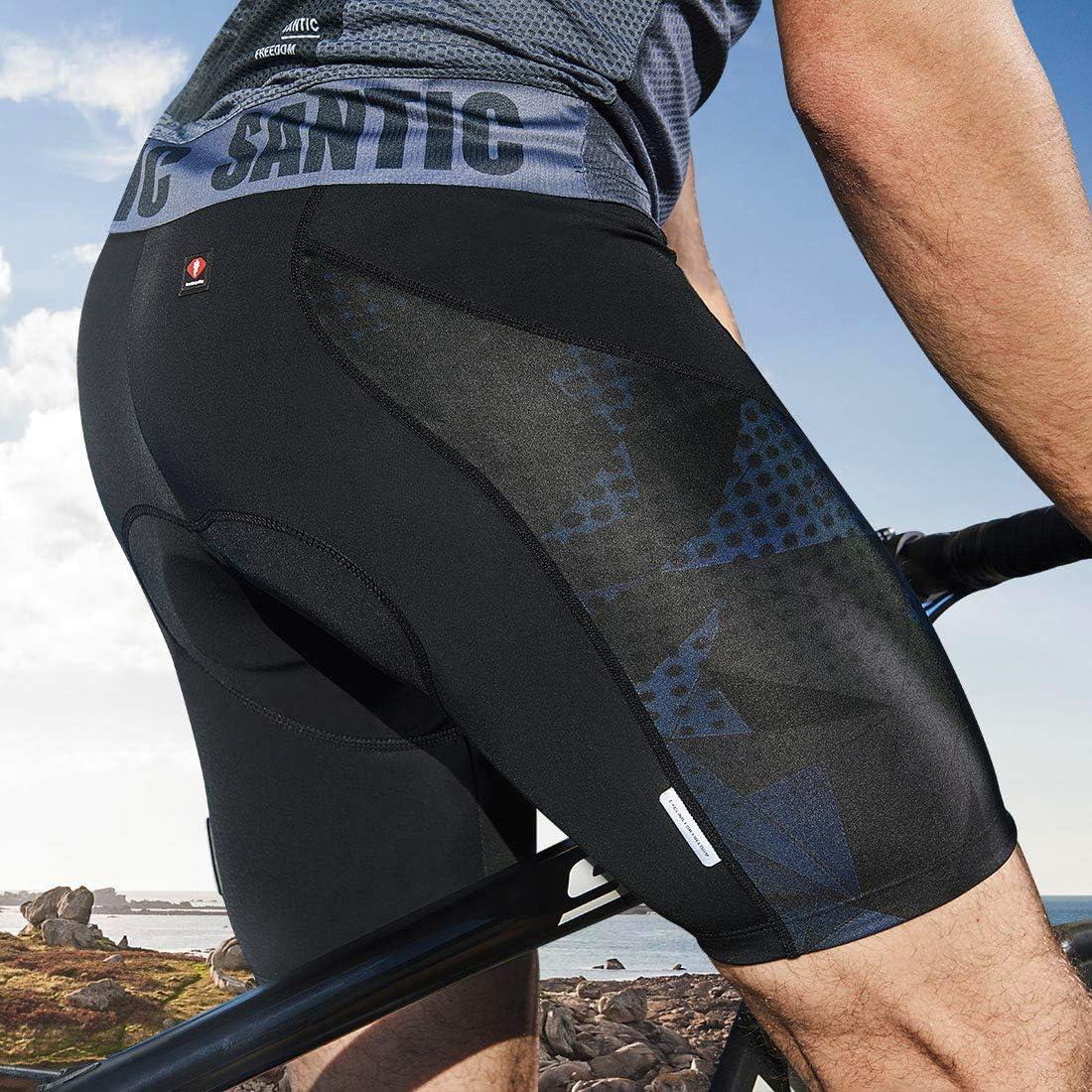 Santic Padded Cycling Shorts Men Cycle Biking Shorts Riding Half Pants Tights Lycra Elastic