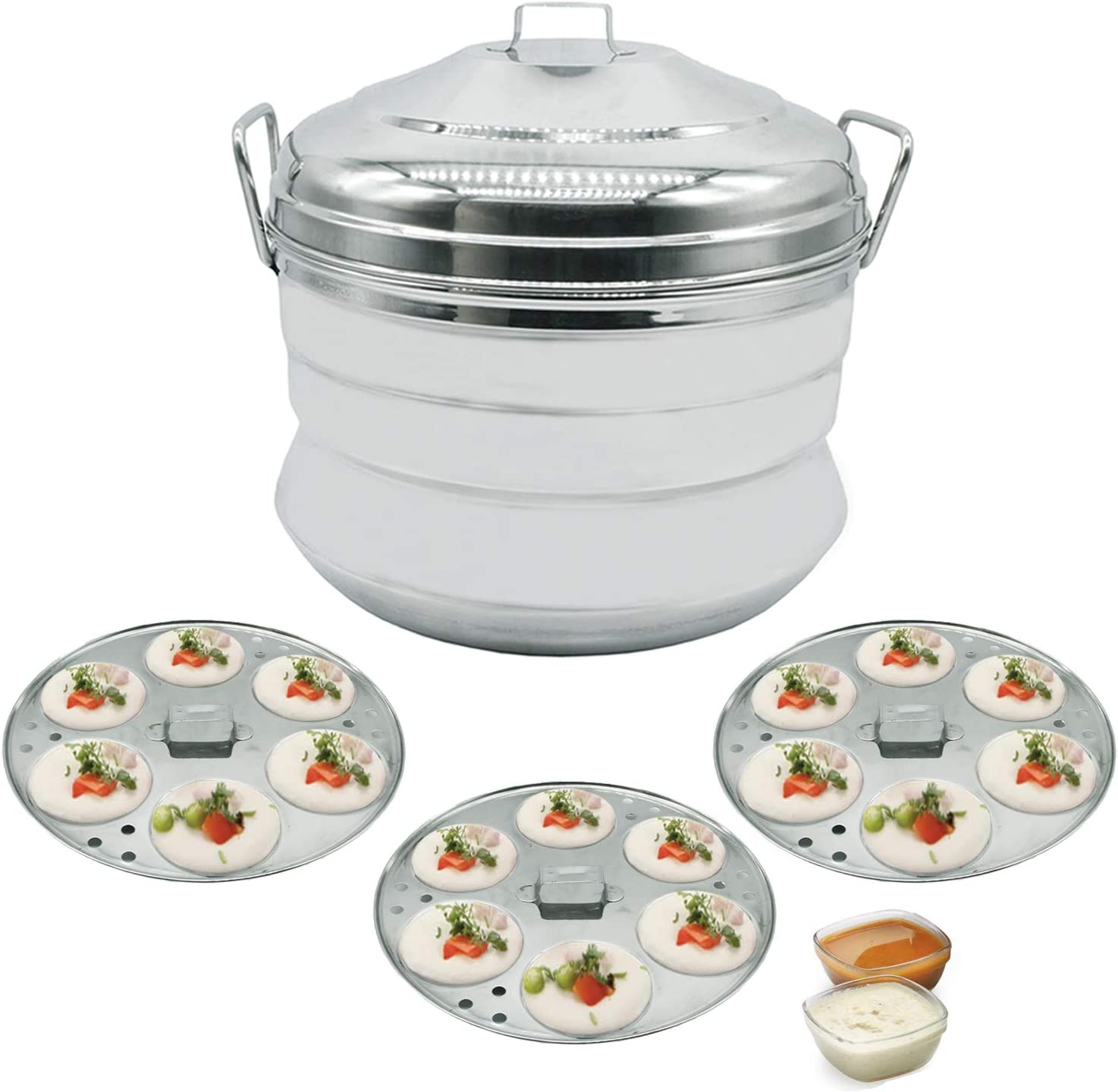 Panca Premium Stainless Steel Idli Cooker 18 Cavity Panai, Idly Maker with Steamer Cooker, Idly Panai, Idli Pot, Idli Maker with Steamer Induction and Gas Stove Compatible, Silver