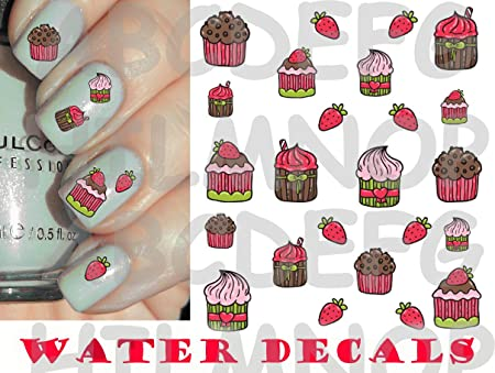 Aws Set Nail Art Water Decals Cakes Cupcakes Package Cupcakes