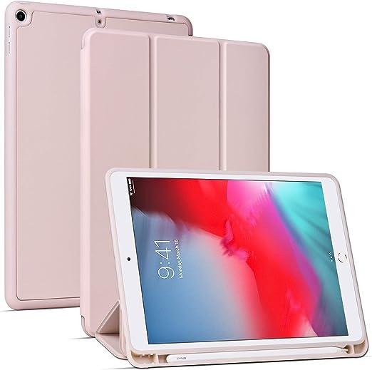 Arae Case for iPad Mini 5 - Flip Folio [Kickstand Feature] PU Leather Wallet case Cover with auto Sleep/Awake Function - Rosegold