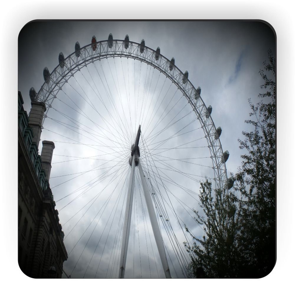 Rikki Knight London Eye Close-Up Sun Breaking Through Design Square Fridge Magnet