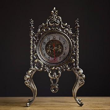 SSBY Estilo europeo creativo todo metal salón elegante y minimalista Reloj retro relojes relojes antiguos,bronce: Amazon.es: Hogar