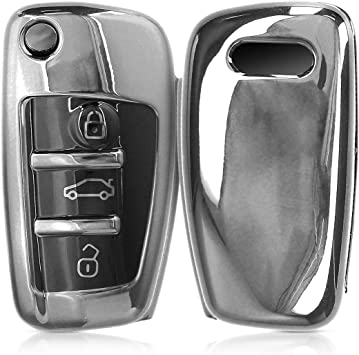 Red Terisass Remote Car Key Fob Case Shell Protective Cover Key Fob Casing Outer Cover Housing for A6L R8 A3 TT Q7 A4 Car Keys