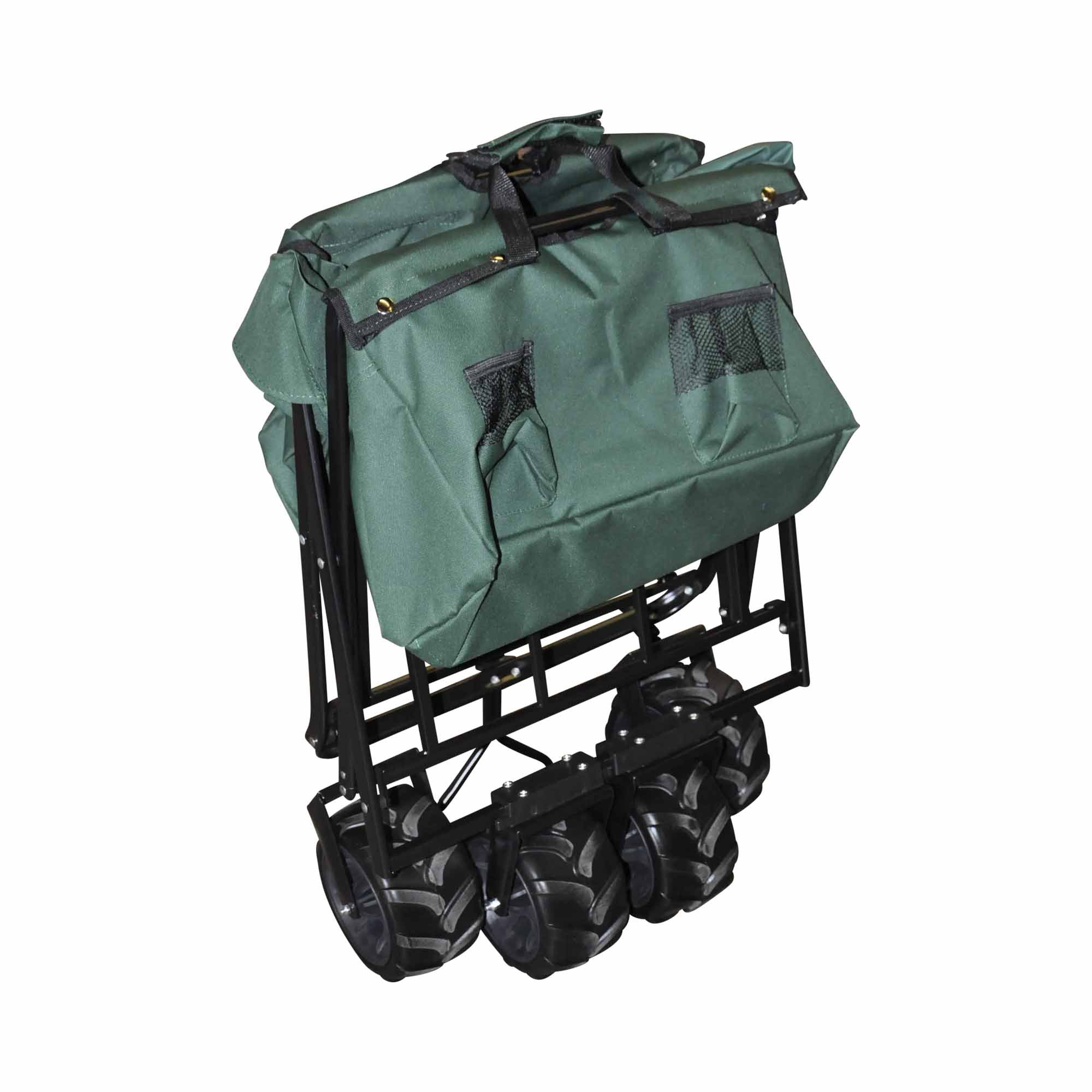 Rocket Offroad RO-UBW-GR All Terrain Collapsible Heavy Duty Folding Utility Wagon Outdoor Cart, Hunter green