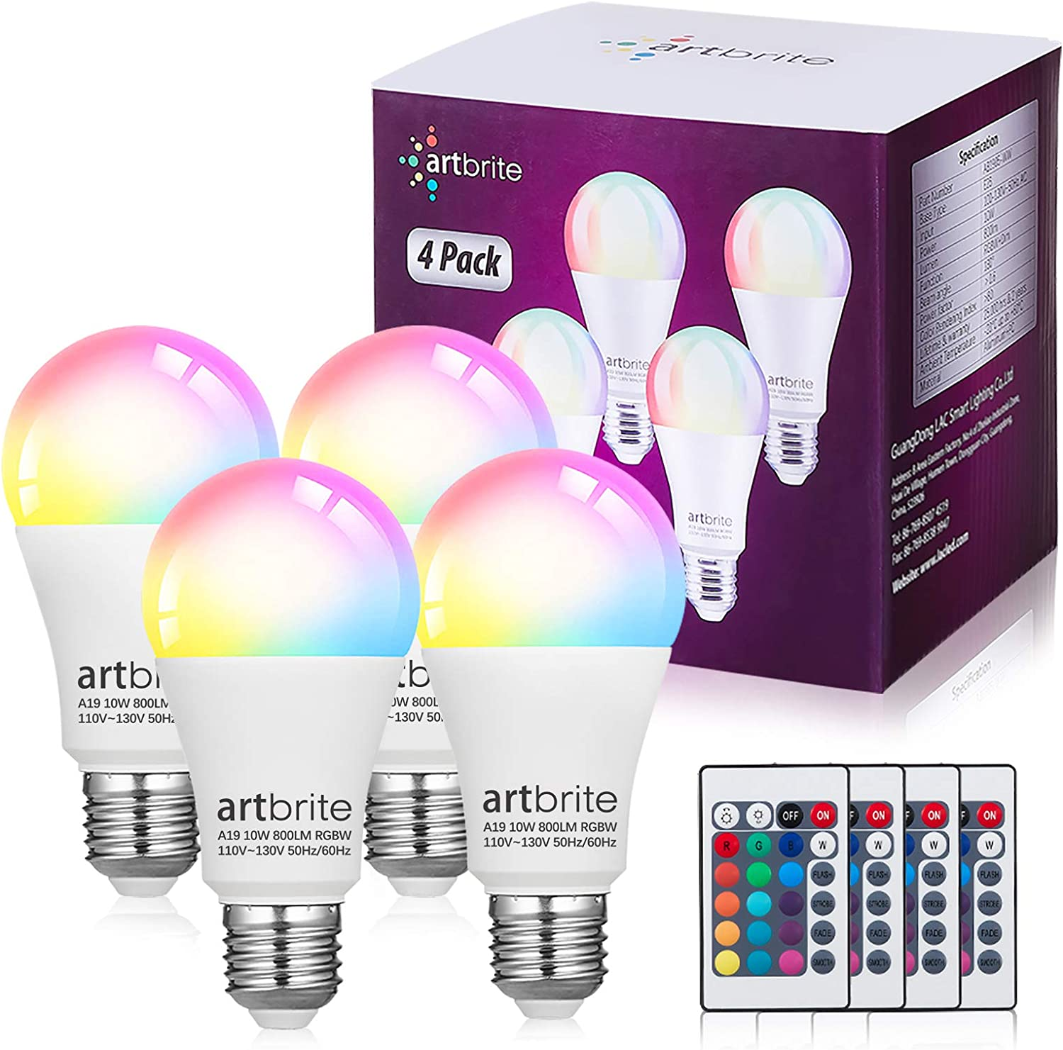 artbrite Color Changing Light Bulb with Remote Control, Dimmable E26 LED Light Bulb, 60 Watt Equivalent, 3000K Warm White, RGB Decorative Lighting for Home, Bedroom, Stage, Party and More.(4 Pack)