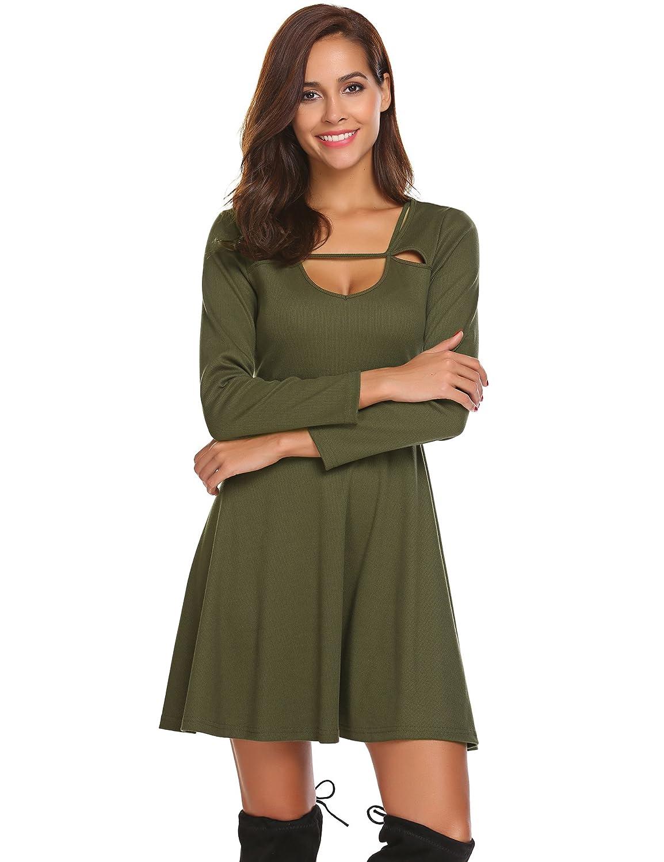 Finejo Women s Long Sleeve Scoop Neck Casual T-Shirt Dress Swing Aline  Dress at Amazon Women s Clothing store  e9a46e7e1bd1