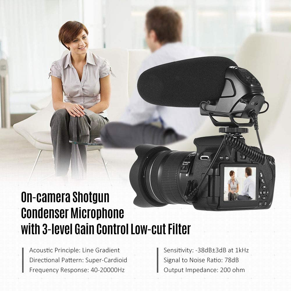 HWENJ Camera Microphone Shotgun Condenser Microphone Supercardioid 3-Level Gain Control Low Cut Filter 3.5mm Plug with Windshield Carrying Case for DSLR Cameras Camcorder Audio Recorder