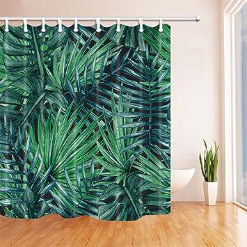 dark teal shower curtain. NYMB Tropical Plants Decor  Dark Green Palm Tree Shower Curtain Mildew Resistant Polyester Fabric Amazon com