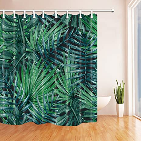 Exceptional NYMB Tropical Plants Decor, Dark Green Palm Tree Shower Curtain, Mildew  Resistant Polyester Fabric