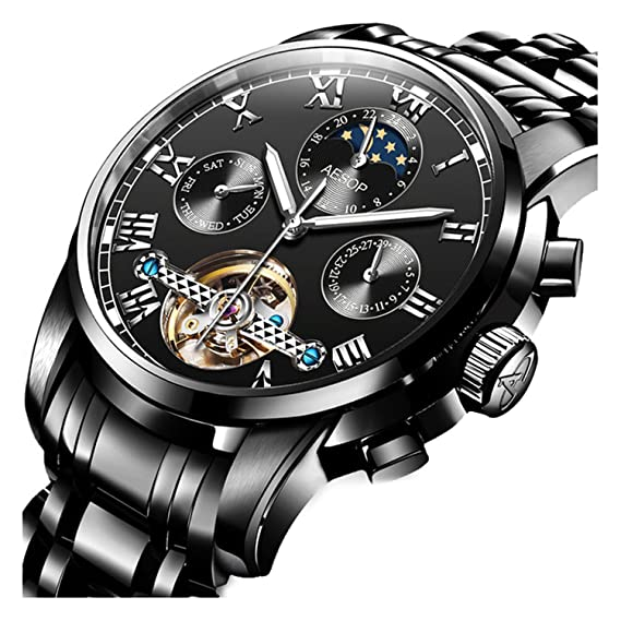 Reloj automático mecánico Tourbillon Skeleton deportivo impermeable calendario luna fase hombres relojes de pulsera: AE: Amazon.es: Relojes