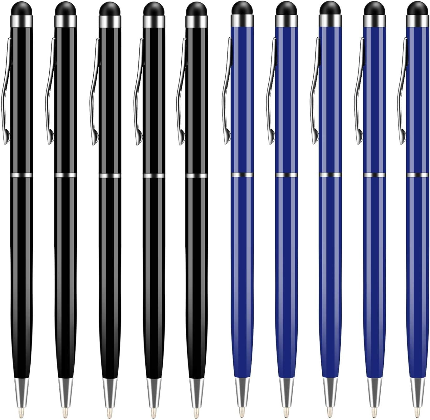 UROPHYLLA Universal 2 in 1 Capacitive Stylus Ballpoint Pens for Touch Screens Fine Point - Bundle(10 Balck 5 Silver 5 Blue)