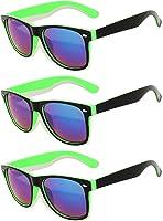 Retro 80's 2 Tone Frame Vintage Sunglasses Full Mirror Lens 3 Pack